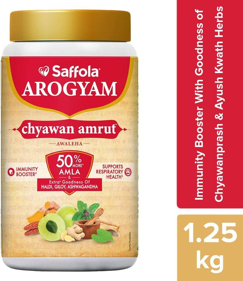 Saffola Gold 1lt + 100% Pure Honey 500g + ChyawanAmrut 1.25kg