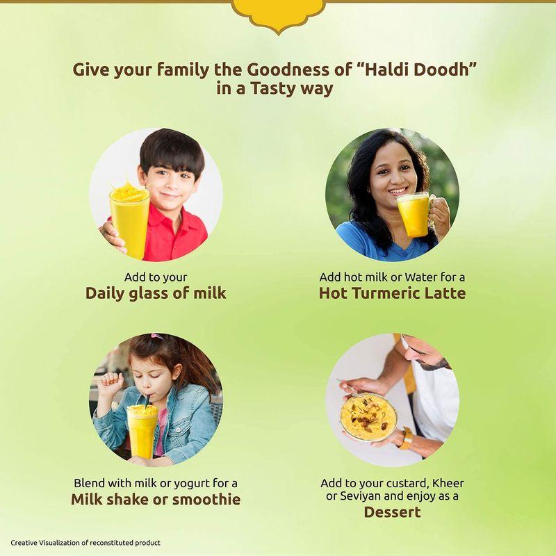 Saffola Immuniveda Golden Turmeric Milk Mix 400g | Ayurvedic Immunity Booster Haldi Doodh | Healthy drink for kids & adults