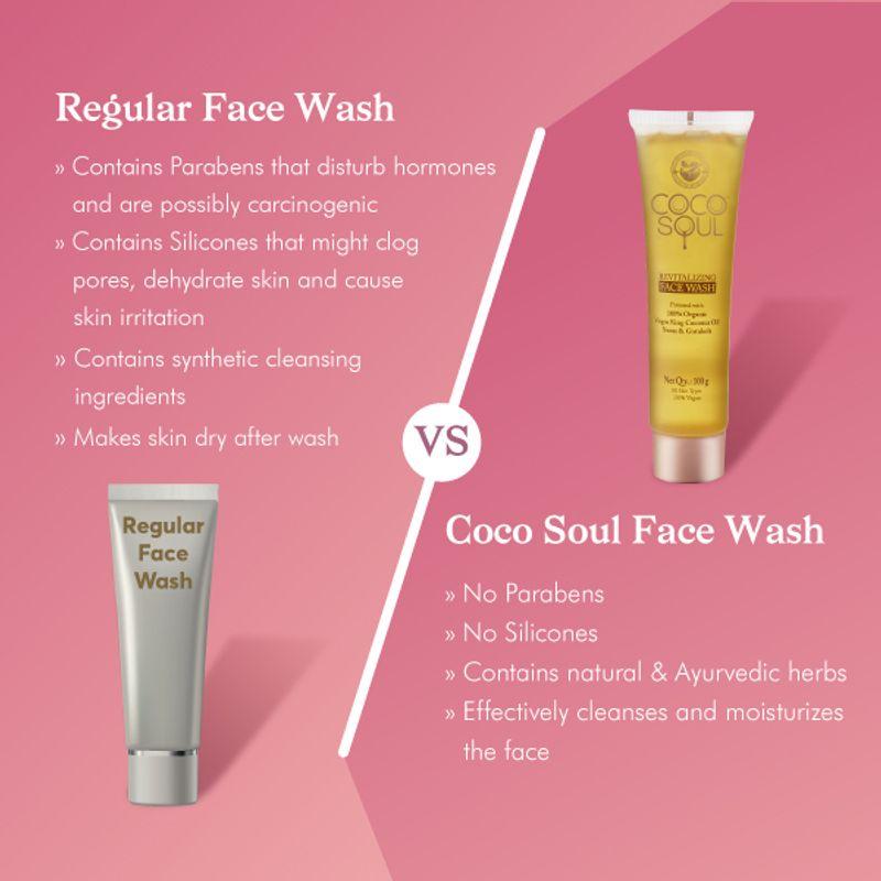 Regular Face wash vs Coco soul Face wash