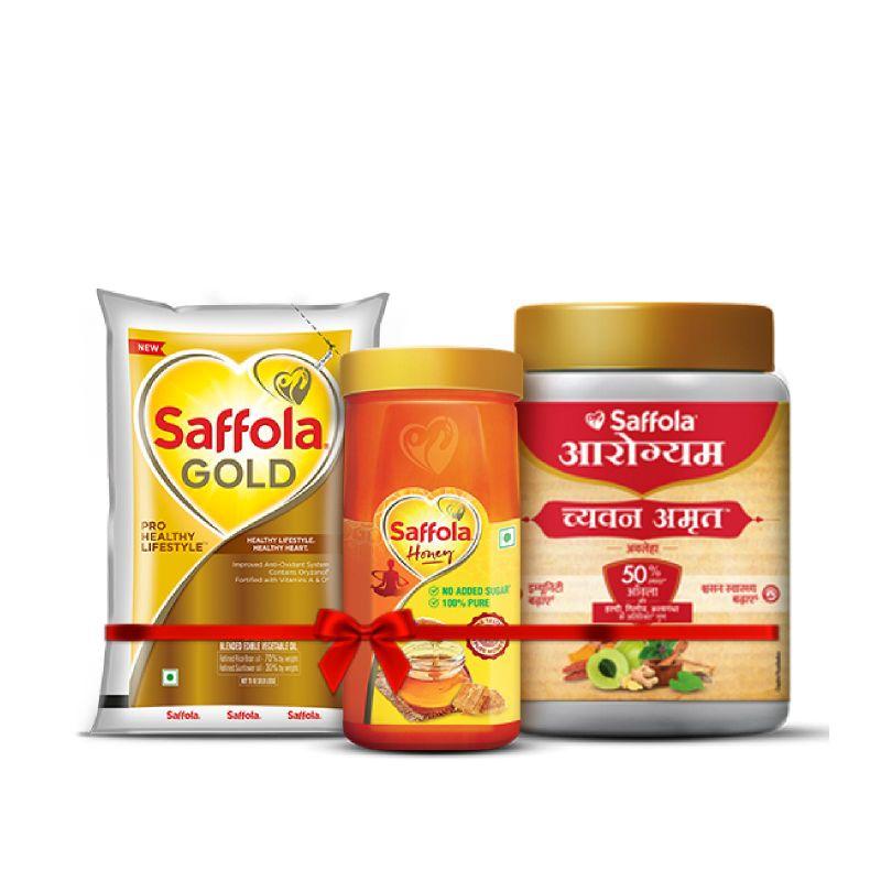 Saffola Gold 1lt + 100% Pure Honey 1kg + Chyawanamrut 500g