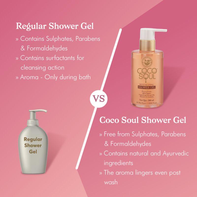 Regular Shower gel vs Coco soul Shower Gel