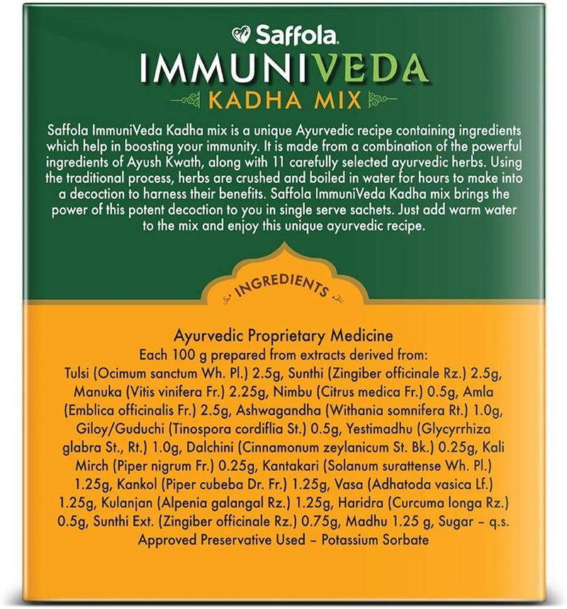 Saffola Immuniveda Kadha Mix- Family Pack 200g (50 Sachets x 4g )   Ayurvedic Immunity Booster Herbal Drink with Ayush Kwath