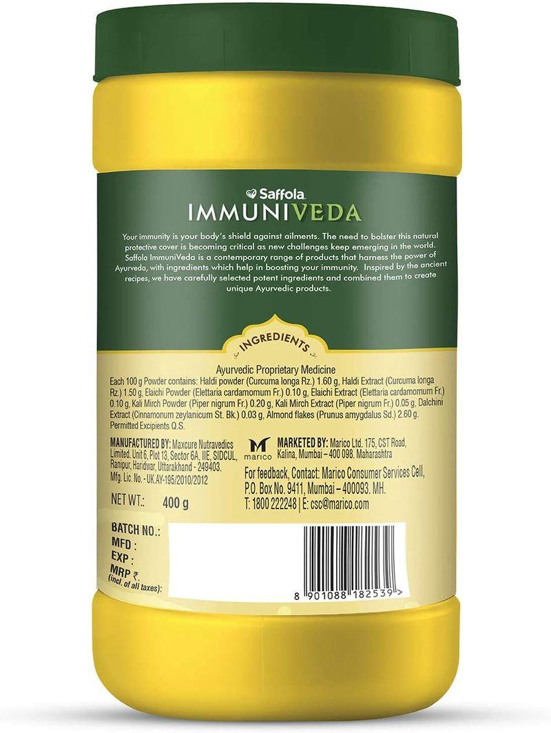 Saffola Immuniveda Golden Turmeric Milk Mix 400g   Ayurvedic Immunity Booster Haldi Doodh   Healthy drink for kids & adults