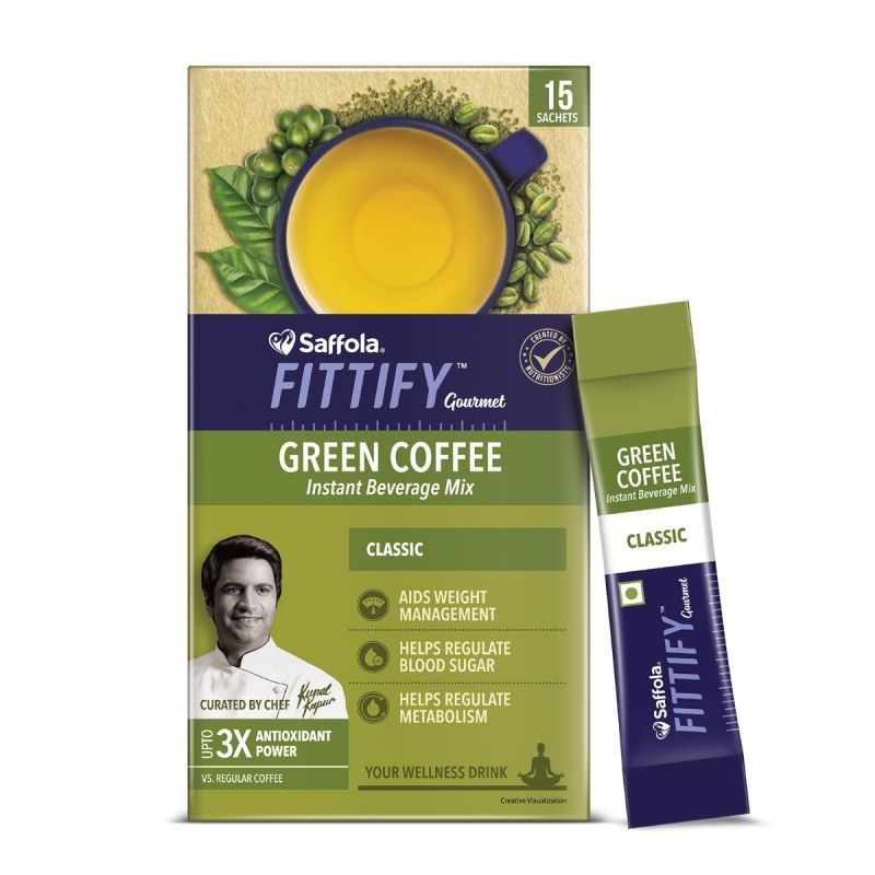 Saffola FITTIFY Gourmet Hi-Protein Slim Meal Shake - Royal Kesar Pista, 420 gm + Green Coffee Instant Beverage Mix, Classic, 15 Sachets, 30 gm