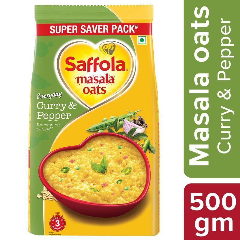 SaffolaAura Refined Oil 1L + Saffola Masala Oats Curry & Pepper 500g + Oodles