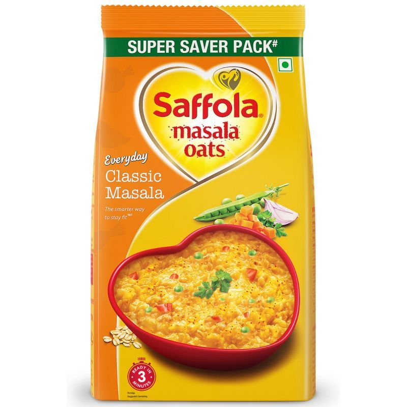 Saffola Masala Oats Classic Masala 500 g + Pack of 3 HI PROTEIN SOUP- Mexican Sweet Corn - 24g