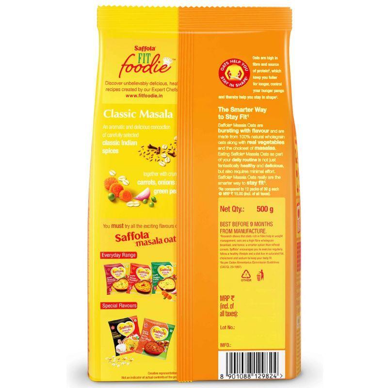 Saffola Masala Oats Classic Masala 500 g + Pack of 3 HI PROTEIN SOUP-Italian Mix Veg-24g