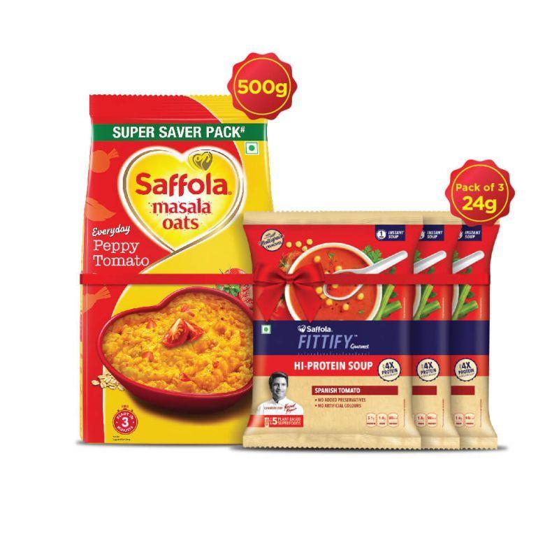 Saffola Masala Oats Peppy tomato 500 g + Pack of 3 HI PROTEIN SOUP - Spanish Tomato -24g