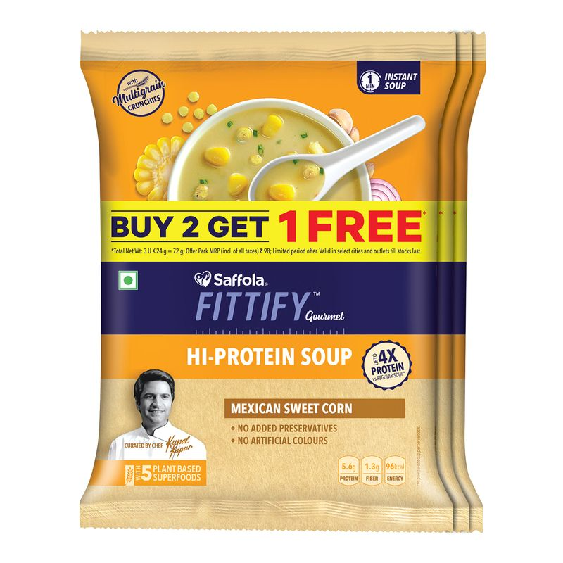 Saffola FITTIFY Gourmet  Hi Protein Instant Soup with Multigrain Crunchies - Mexican Sweet Corn,3 x 24 g
