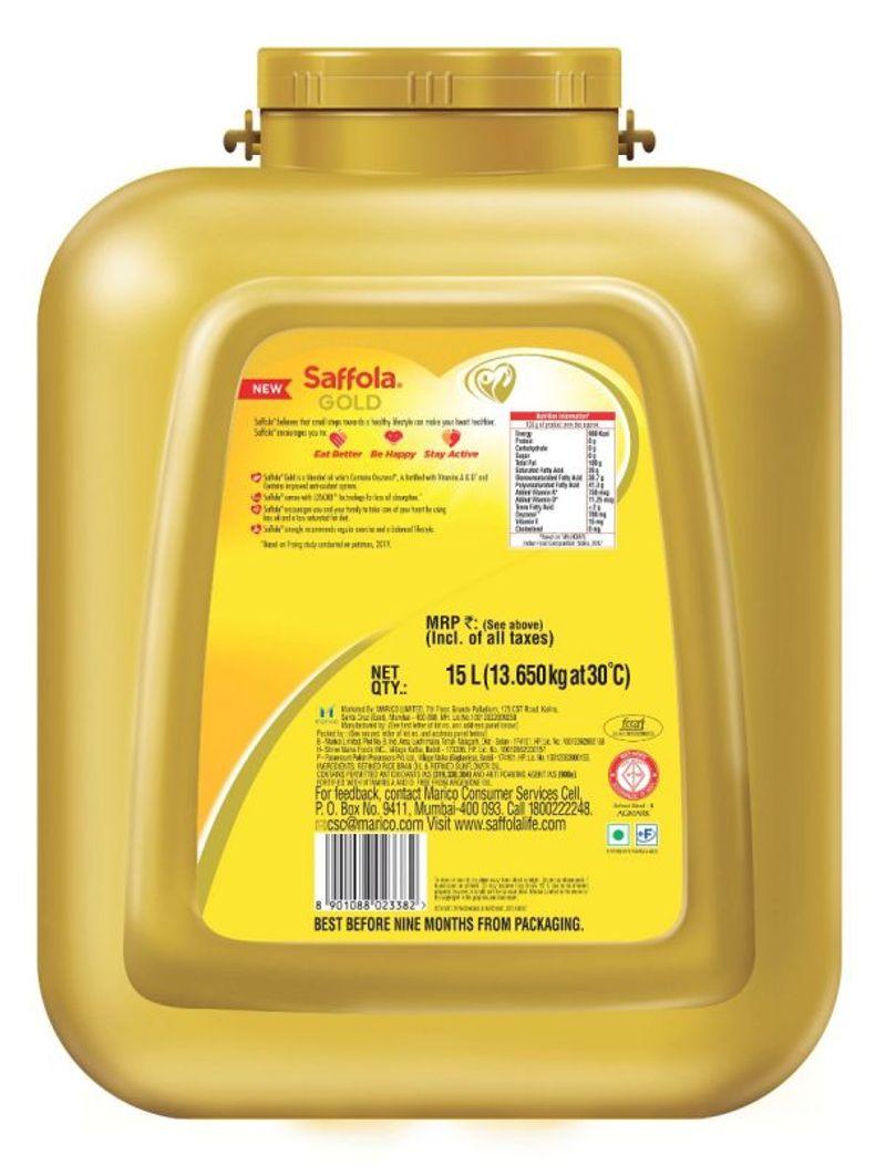 Saffola Gold, Pro Healthy Lifestyle Edible Oil - 15 L Pet Jar