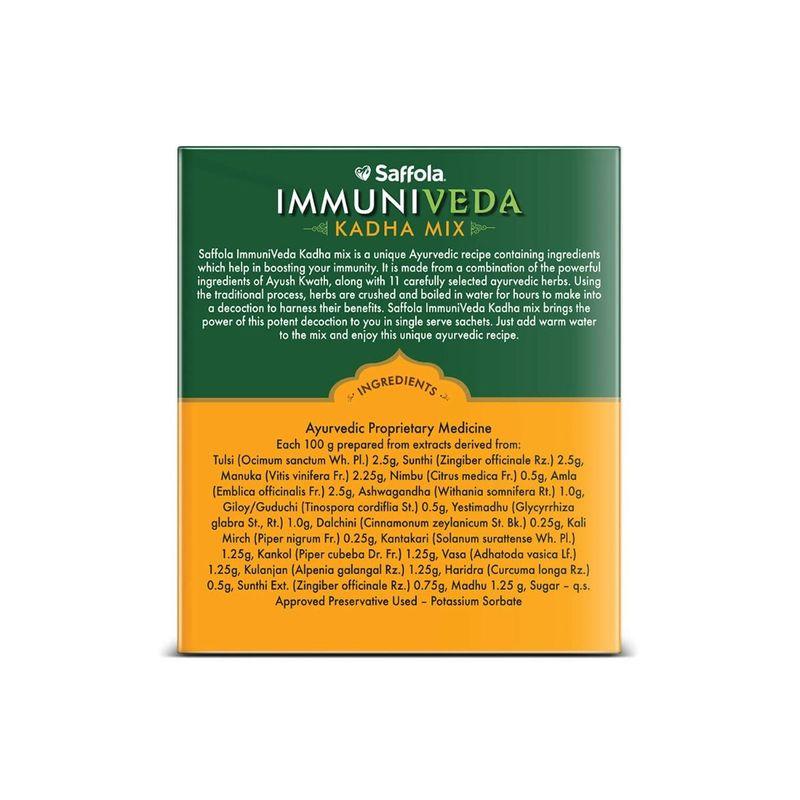 Saffola Immuniveda Kadha Mix- 80g (20 Sachets x 4g )   Ayurvedic Immunity Booster Herbal Tea with Ayush Kwath (Pack of 2)