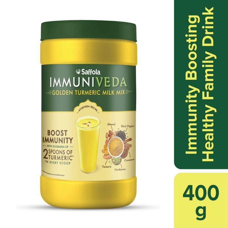 Immuniveda Kadha 200g+Saffola Masala Oats Classic Masala 500gm+Oodles Pack of 3+Immuniveda Turmeric Milk