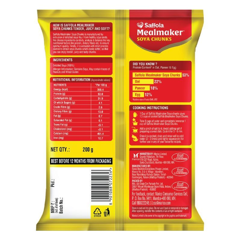 Saffola MealMaker Soya Chunks -1Kg | With Supersoft Tecnology|Tender & Juicy|53% Protein, 13% Fibre & Less than 1% Fat