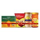 Saffola Immuniveda Kadha 80g + Saffola Fittify Slim Meal-shake, Royal Kesar Pista, 420 Gm + Soya Chunks 1 Kg+ Saffola Honey 1kg