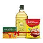 Saffola Aura Refined Olive Oil, 2ltr + Saffola Immuniveda Kadha Mix- 80g + Soya Chunks 1Kg