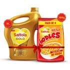 Saffola Oodles Yummy Masala 184g + Saffola Gold, Pro Healthy Lifestyle Edible Oil - 5 L Jar
