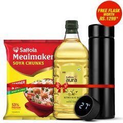 Saffola Aura Refined Oil, 2L + Saffola Meal Maker Soya Chunks 1Kg + Digital Flask Free