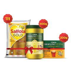 Saffola Gold 1L + Kadha 200g + Turmeric Milk 400g