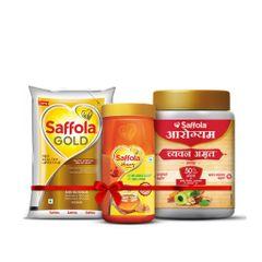 Saffola Gold 1lt + 100% Pure Honey 500g + ChyawanAmrut 1Kg