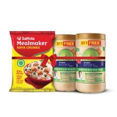 SAFFOLA MEALMAKER SOYA CHUNKS 1kg + Pista Almond Shake B1G1